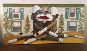 Sock Monkey in Love. SOLD