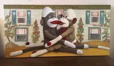 Sock Monkey in Love. SOLD